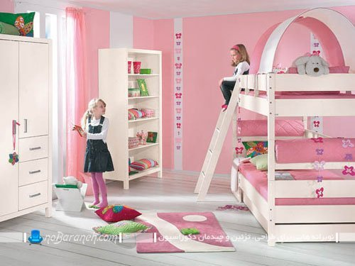 دکوراسیون دخترانه اتاق کودک با مبلمان مدرن