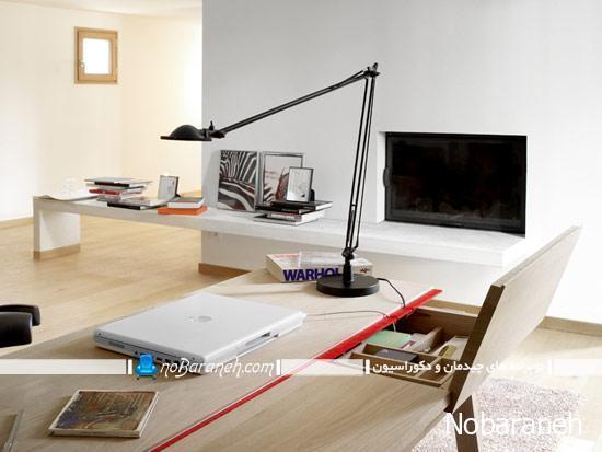 میز تحریر و کامپیوتر چوبی با طراحی ظریف و زیبا