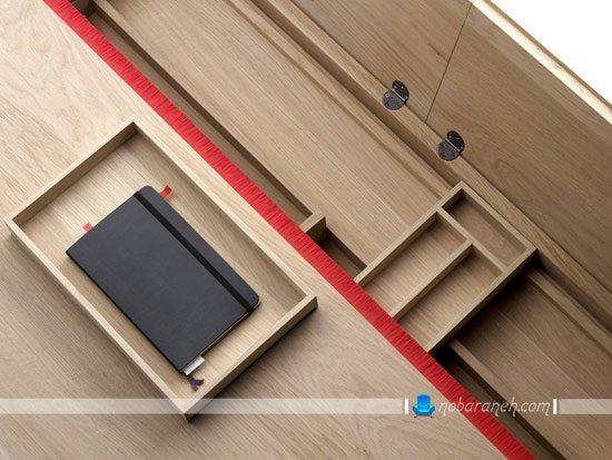 میز تحریر چوبی و نیمه کلاسیک، مدل جدید و شیک میز تحریر و مطالعه / عکس