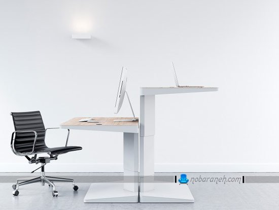 میز کامپیوتر اداری و کارمندی با تنظیم ارتفاع