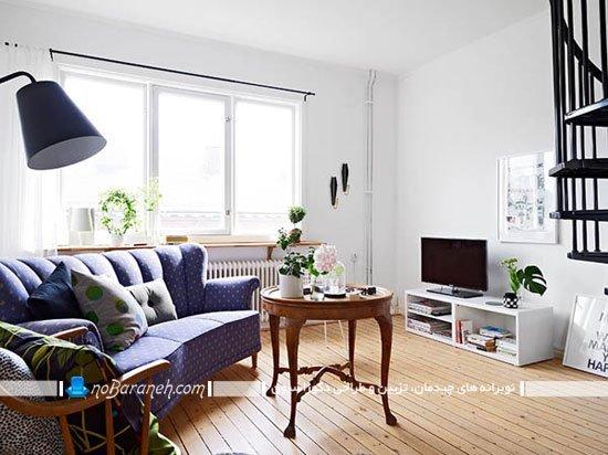 چیدمان پذیرایی خانه دوبلکس کوچک به شکل شیک و ساده