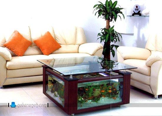 طرح جدید آکواریوم خانگی به شکل میز جلو مبلی