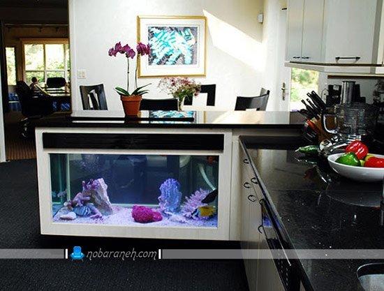 مدل آکواریوم خانگی جاسازی شده در میز اپن آشپزخانه / عکس