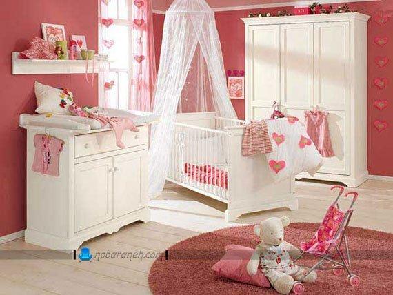 مدل سیسمونی اتاق نوزاد دختر با رنگ کرم و صورتی