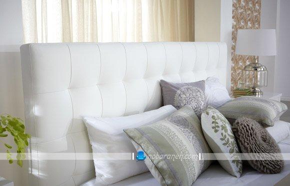 سرویس خواب عروس با رنگ سفید و جنس چرمی
