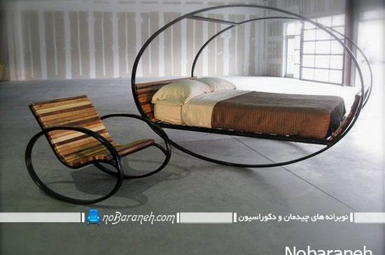مدل تخت خواب و صندلی چوبی با طرح جدید و کلاسیک