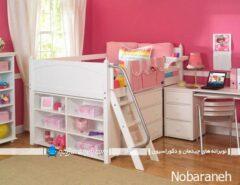 مدل تخت خواب دخترانه اتاق کودک با نردبان