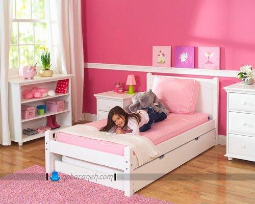 اتاق خواب دخترانه صورتی / عکس