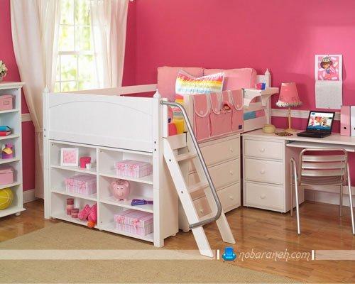 دکوراسیون دخترانه اتاق کودک و مدل تخت خواب دو طبقه