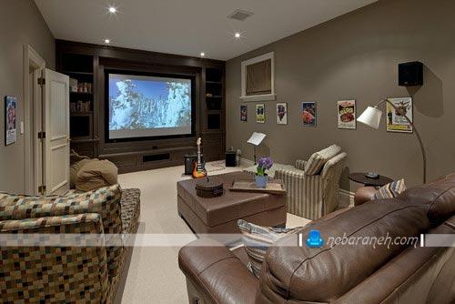 طراحی اتاق سینمایی در داخل خانه مسکونی / عکس