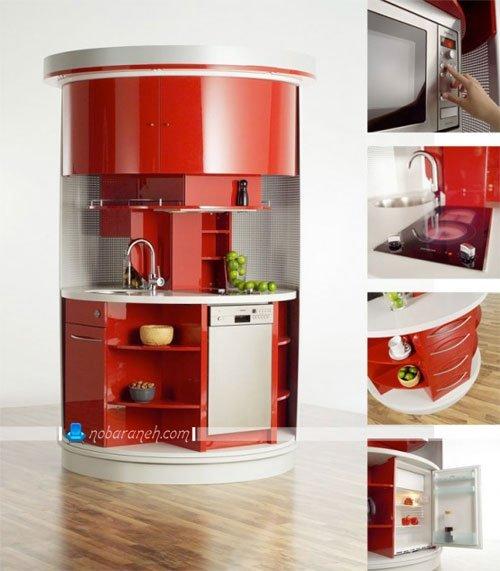 کابینت آشپزخانه کوچک با طراحی یک تکه دارای اجاق گاز و سینک و یخچال / عکس