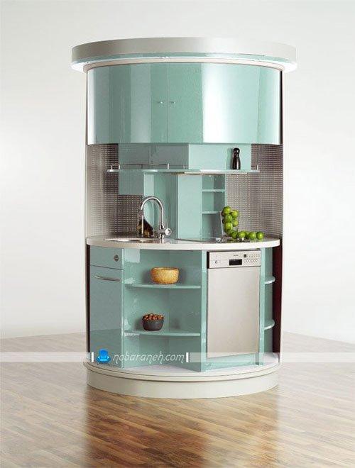 کابینت آشپزخانه کوچک با طراحی متحرک