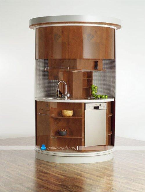 کابینت آشپزخانه با قابلیت جابجایی و دارای یخچال تو کار