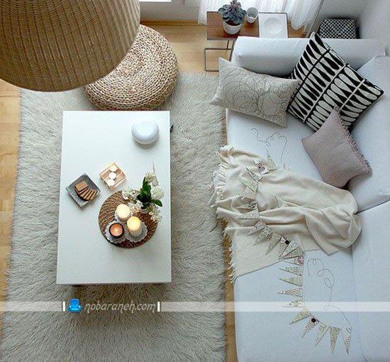 چیدمان اتاق پذیرایی کوچک با کاناپه