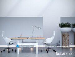 مدل میز اداری چوبی و فلزی دو کاربره با صندلی مدرن