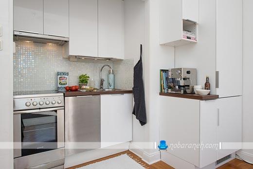 طراحی دکوراسیون آشپزخانه کوچک با رنگ سفید و هزینه کم ارزان قیمت. کابینت سفید آشپزخانه کوچک کابینت آشپزخانه سفید طوسی کابینت آشپزخانه کوچک بدون اپن