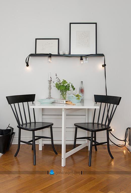 میز ناهارخوری دیواری کمجا و تاشو. مدل جدید ساده و ارزان میز نهارخوری کوچک دو نفره چوبی