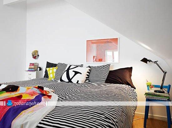 چیدمان اتاق خواب کوچک زیر شیروانی / عکس