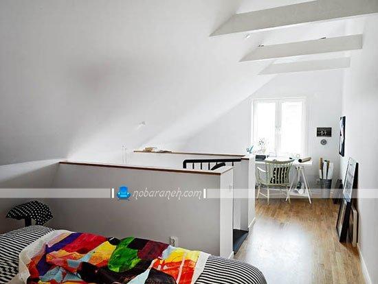 اتاق خواب دوبلکس کوچک با چیدمان تخت خواب دو نفره در آن / عکس