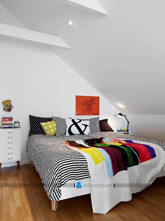 طراحی دکوراسیون اتاق خواب کوچک زیر شیروانی / عکس
