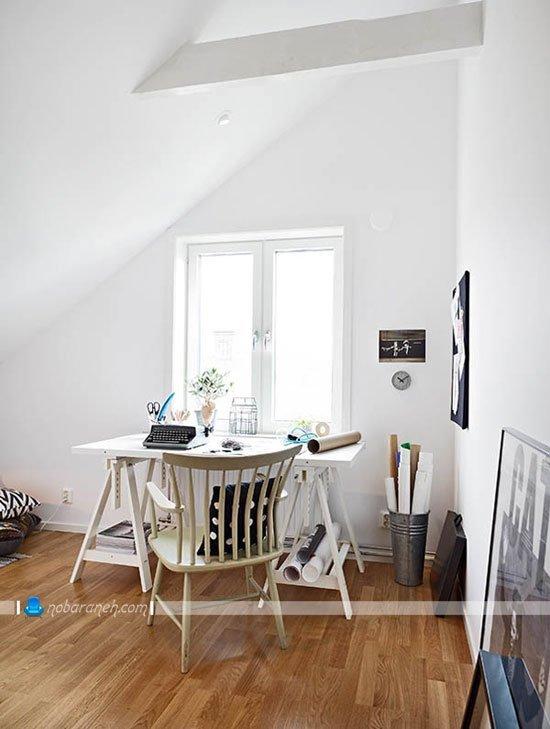 دکوراسیون اتاق کار خانگی در منزل دوبلکس آپارتمانی