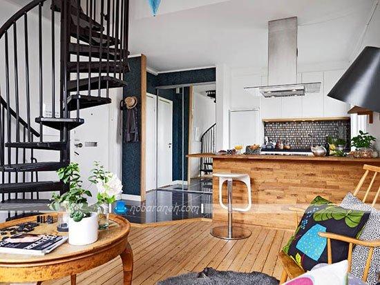 طراحی دکوراسیون چوبی زیبا در اتاق نشیمن کوچک / عکس