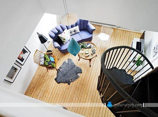 خانه دوبلکس کوچک با دکوراسیون و مبلمان ساده / عکس