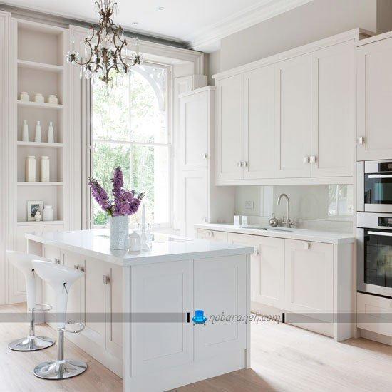 کابینت سفید ساده و نیمه کلاسیک / عکس