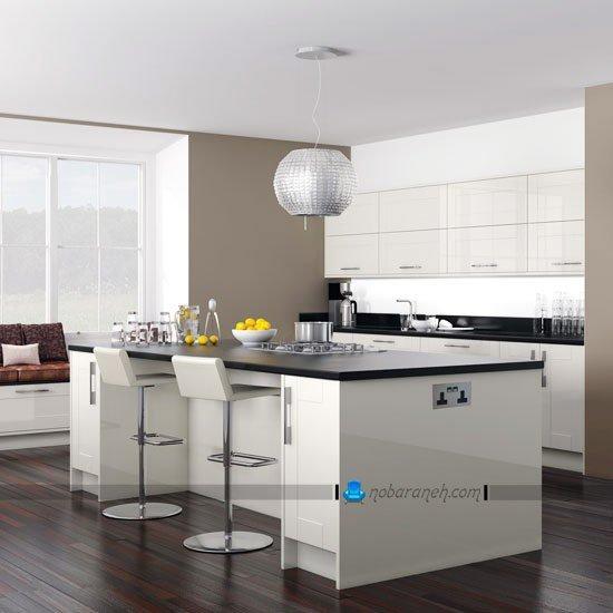 مدل کابینت سفید رنگ های گلاس آشپزخانه با طراحی شیک و مدرن