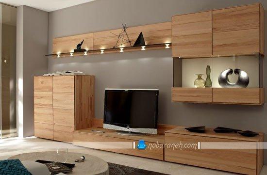 میز تلویزیون چوبی و مدرن با سایز بزرگ