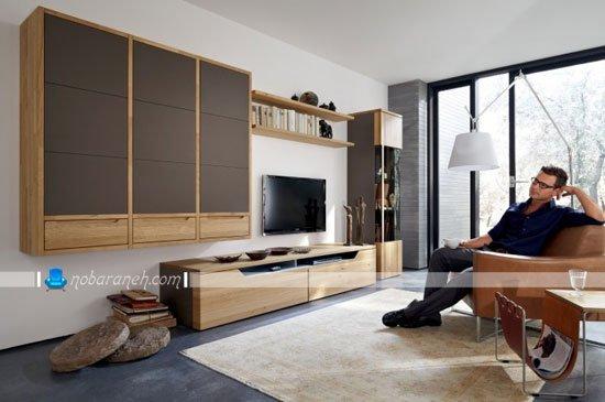 میز تلویزیون مدرن و چوبی با کمد و بوفه تزیینی