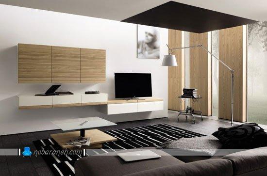 میز تلویزیون دیواری به شکل شلف و باکس دیواری