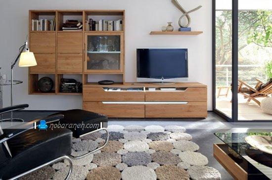 میز تلویزیون چوبی کمد دار و بزرگ