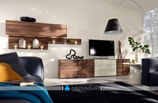 میز تلویزیون چوبی و مدرن با شلف دیواری