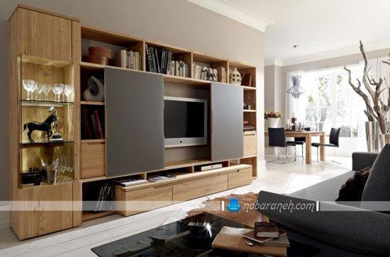 میز تلویزیون مدرن و چوبی با قابلیت مخفی سازی تلویزیون