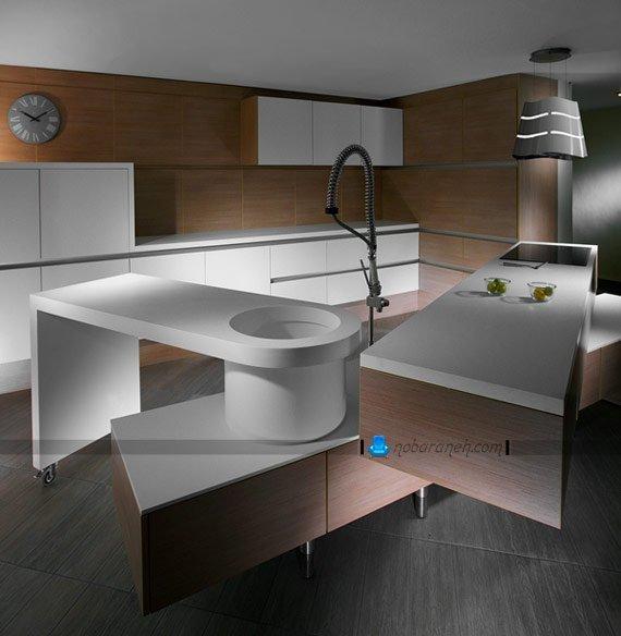 آشپزخانه مدرن با دیوارپوش چوبی / عکس