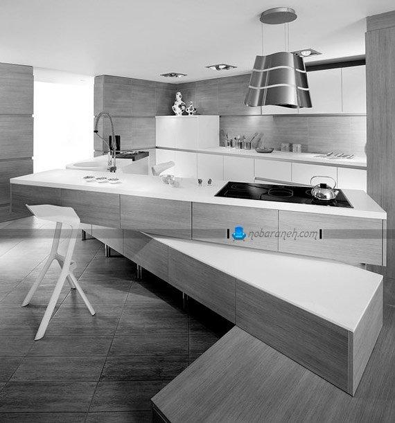 آشپزخانه مدرن با کابینت چوبی و میز اپن طرح جدید / عکس