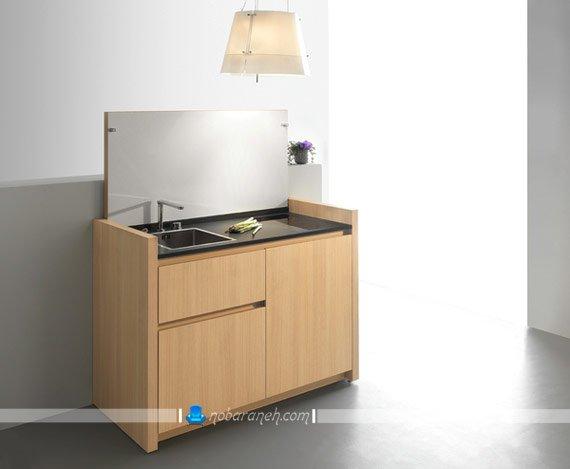 کابینت آشپزخانه کوچک و کمجا کابینت چوبی و متحرک