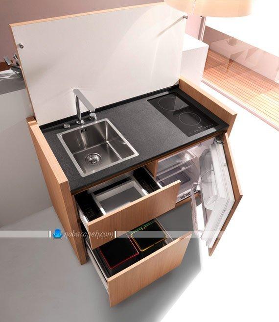 طرح جدید کابینت آشپزخانه کوچک و کم جا. مدل کابینت آشپزخانه قابل تبدیل به میز تحریر