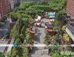 روف گاردن زیبا و دیدنی در پشت بام مجتمع مسکونی