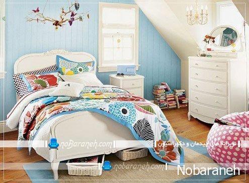 مدل تخت خواب و مبلمان کلاسیک سفید رنگ و دخترانه