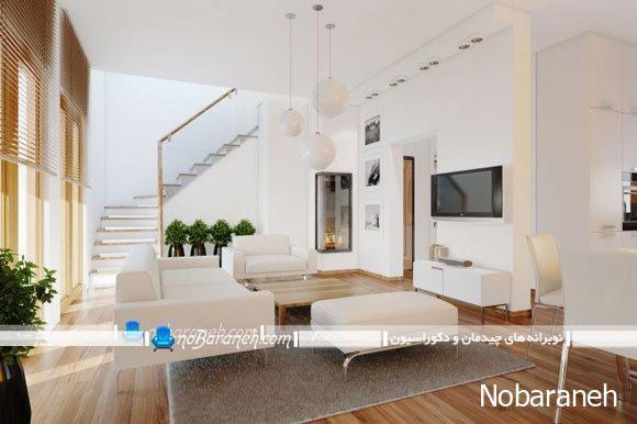 چیدمان ساده و سه تکه مبلمان راحتی در اتاق نشیمن / عکس