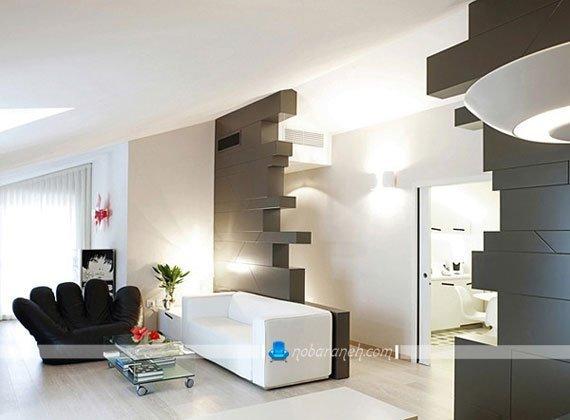 دکوراسیون داخلی منزل کوچک با رنگ سیاه و سفید
