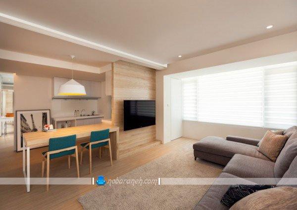 دیزاین شیک منزل با کفپوش و دیوارپوش چوبی