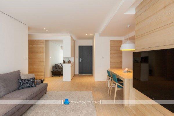 طراحی دکوراسیون داخلی چوبی در اتاق پذیرایی و نشیمن / عکس