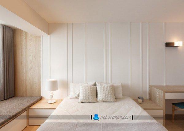 ترکیب دیوار گچی و دیوارپوش پی وی سی در اتاق خواب / عکس