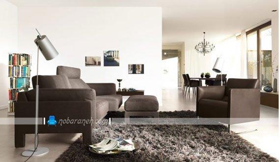 مبل راحتی شیک ساده برای اتاق نشیمن با رنگ قهوه ای / عکس