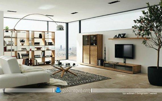 عکس و مدل میز تلویزیون چوبی و ویترین تزیینی برای اتاق پذیرایی / عکس