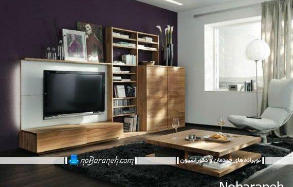 کمد و کتابخانه و میز تلویزیون در یک محصول چوبی