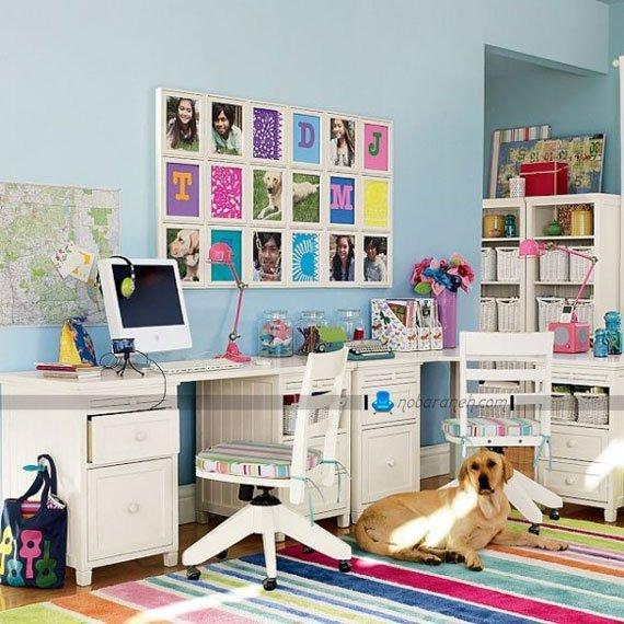 عکس و مدل میز تحریر دخترانه برای اتاق خواب کودک و نوجوان، طراحی دکوراسیون دخترانه اتاق خواب نوجوانان، مدل چیدمان اتاق نوجونان